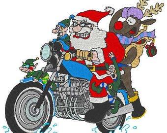 Biker Santa Embroidery Design, instant download, motorcycle, bikers, Christmas, reindeer, elves, presents, Santa clause, Rudolph, funny
