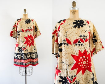 1960s An Island Tribute tropical linen dress / 60s bungalow