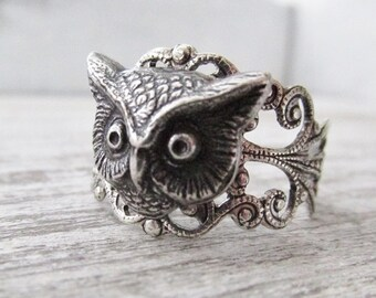 Owl Ring, Silver Owl Head Ring, Owl Lovers, Hoot Owl, Owl Jewelry, Adjustable Owl Ring, Bird Jewelry, Woodland Jewelry, Gifts For Her