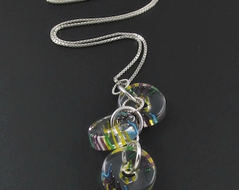Cane Glass Bead Necklace, Sterling Silver Necklace, Colorful Necklace, Glass Necklace, Glass Bead Pendant, Glass Pendant