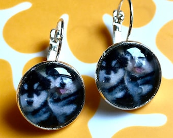 Husky puppy cabochon earrings- 16mm