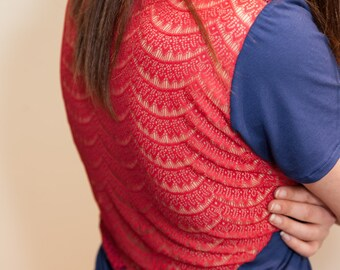 Red lacy Sleep T-shirt, sheer back nighty, Blue and red nighty, womens sleep t-shirt, Knit sleep top