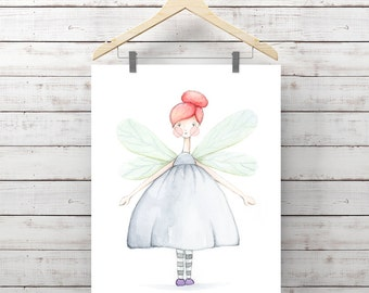Fairy Girl Watercolor Print - Butterfly Girl Print - Original Watercolor Art by Angela Weber - Giclee Art Print