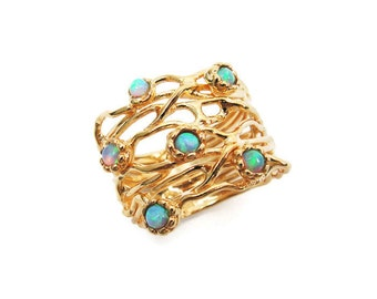 Gold ring. Opal ring. Branches ring, Wide ring. Gold wide ring. Wide opal ring. Gold jewelry, opal gold ring, gift for her (1684)