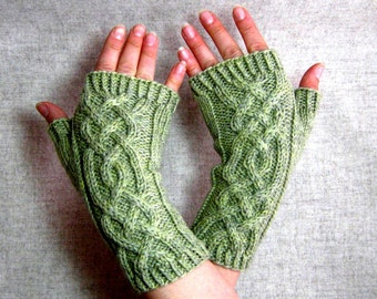 Fingerless Mittens with viking cables, light green wool, cabled gloves for women, arm warmers viking style, wool gloves for her, knit mitts