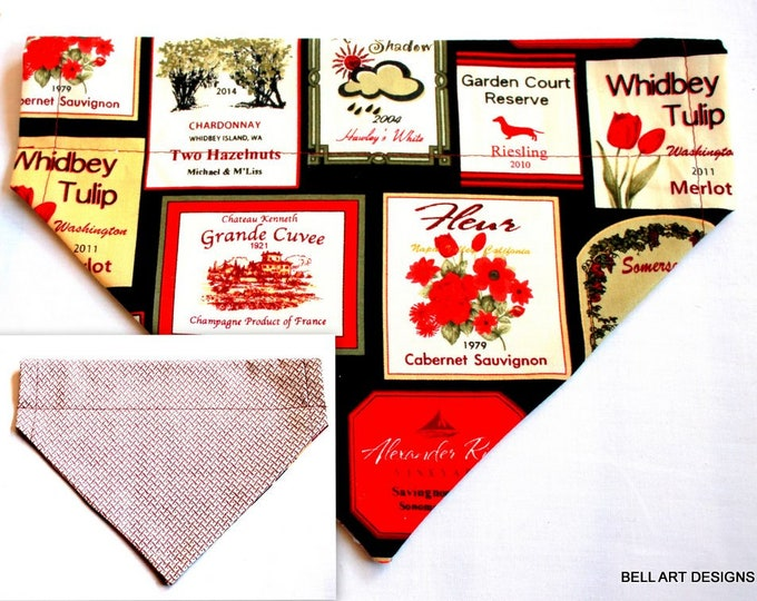 WINE LABELS ~ Over the Collar ~ Reversible ~ Dog Pet Bandana ~ Bell Art Designs ~ Large ~ DCL0120