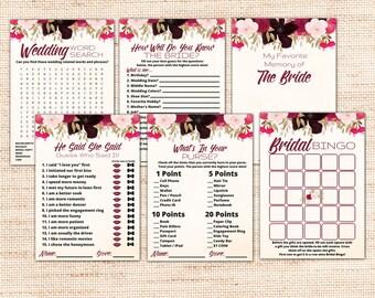 boho bridal shower games package instant download bohemian printable bridal shower kit purple