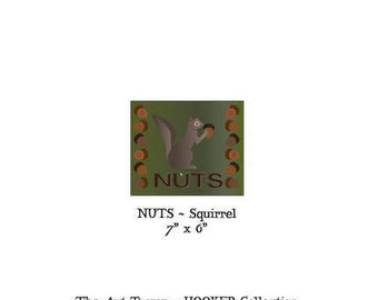 """Nuts ~ Squirrel ~ 7"""" x 6"""" Paper Pattern for PUNCH NEEDLE by The Art Tramp/HOOKER Collection"""