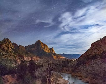 The Watchman Peak at Night in Zion National Park
