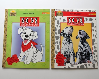 Lot of 2 Disney's 101 Dalmatians Paint and Marker Books 1990s