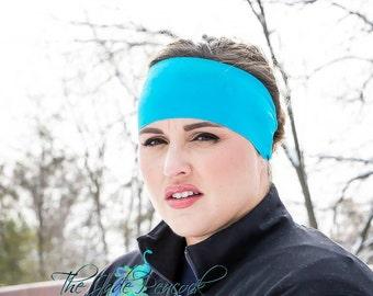 Turquoise Spandex Headband - Fitness Headband - Yoga Headband - Solid Headband - Workout Accessory - Fitness Apparel - Wide Headband