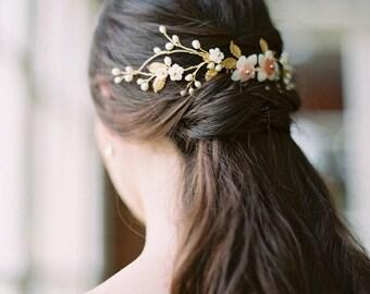 bridal headpiece, flower headpiece, wedding headpiece, bridal hair vine, floral headpiece, floral wedding hair accessories - GRACE