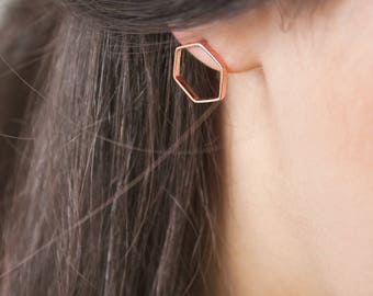 Gold Hexagon Earrings, Rose Gold Earrings, Geometric Earrings, 14K Gold Earrings, Rose Gold, Hexagon Earrings, Women's Gift, Minimal Jewelry