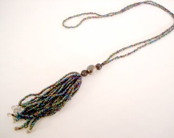 Multicolor Beaded Long Tassel Necklace made with jewel tone rainbow seed beads long layering statement necklace