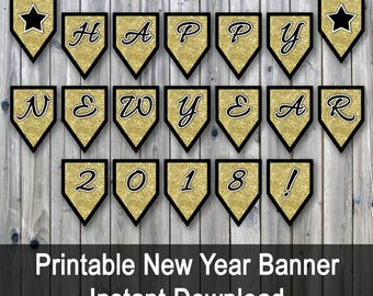 happy new year 2018 banner printable new years eve banner gold glitter pdf includes extra coundown numbers and stars instant download