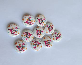Multicolour splash Print wooden buttons on white background - 1cm set of 10