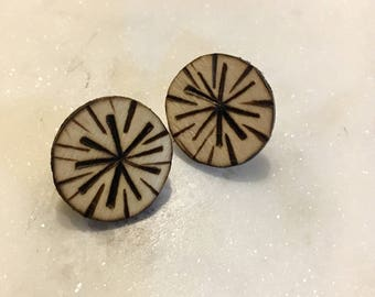 Boho Compass Design Burnt Earring