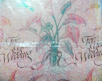 Vintage Wedding Gift Wrap, Iridescent Lilies Wrapping Paper, Bridal Shower Gift Wrap, One Large Sheet, For Your Wedding Gift Wrap, New