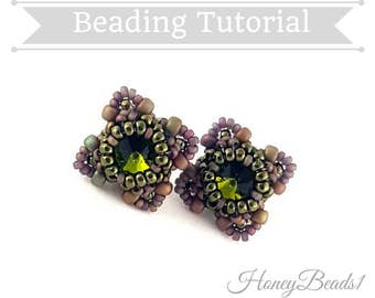PDF-file Beading Pattern Stud Earrings 'Celtic Button' Beading Tutorial by HoneyBeads1
