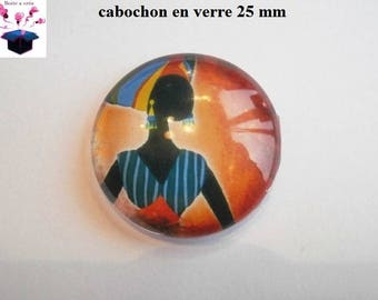 1 cabochon clear 25 mm round African theme