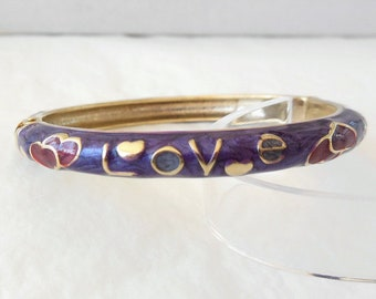 "Bangle bracelet enamel, hearts, love, 8"""