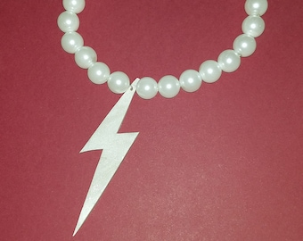Polymer Clay Lightning Acrylic Pearl Necklace (As worn by 17)