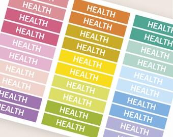 Gesundheit, die Überschrift Header Sticker, Sticker, Tagesordnung Notebook Zeitschrift Aufkleber, Aufkleber, Eclp Filofax glücklich Planer kikkik