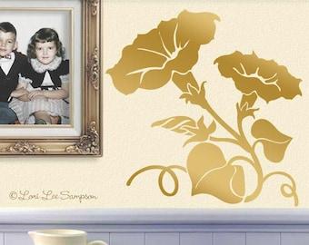 Nursery Wall Decal, Floral Nursery Decor, Morning Glory Flower Decal, Baby Nursery Decor, Shown in Metallic Gold (01710c1v)
