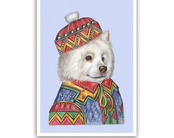 Samoyed Art Print - the Baron - Dog Gifts, Posters and Wall Art - Pet Portraits by Maria Pishvanova
