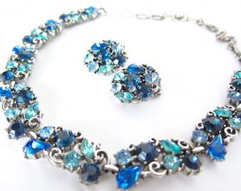 Lisner Blue Rhinestone Necklace Earrings Demi Parure Choker