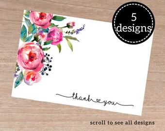Thankyou notecard, floral thankyou card, notecards pack, thankyou notes, thanks giving, printable notecard, floral greeting card