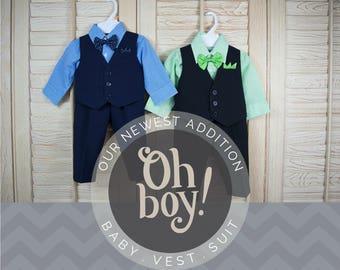 Babies Toddlers Vest 4-Piece Suit, Vest Shirt Pants Bow Tie, Navy Blue, Black Green