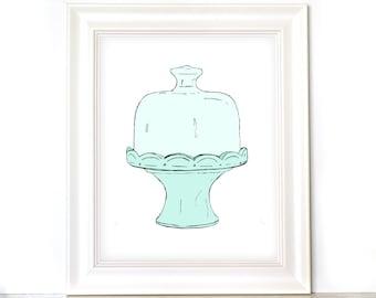 8x10 Cake Stand Print - Hand Drawn - Kitchen Art Print