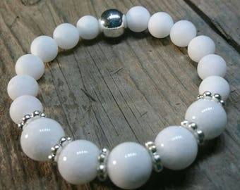 Bright and white stackable Yoga/Beach Bracelet