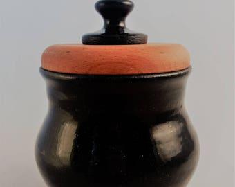 Pot - Unique Handmade Pot - Praliné Dish - Stoneweare and wood -  Black Pot - Glazed Ceramic -Pottery wedding gift - Chic - Marencic Martina
