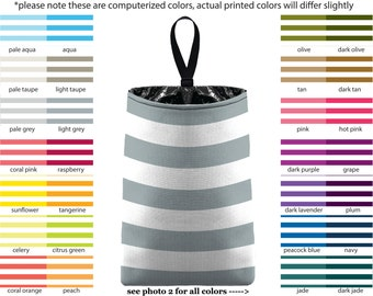 Auto Trash - Canopy Stripes - PICK YOUR COLOR - Car Trash Bag Car Accessory Automobile Caddy Trash Bin Garbage Floral Custom