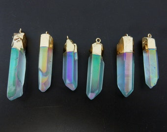 Rainbow Mystic Crystal Quartz Point Pendant with 24k Gold Electroplated Cap and Bail (S87B9-06)