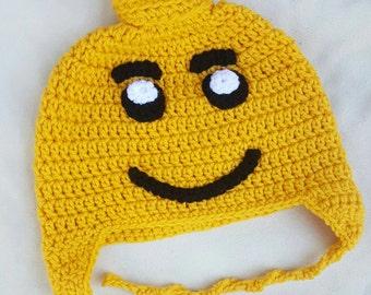 Lego inspired crocheted hat
