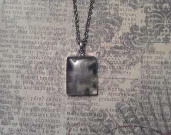 Natural Mossy Green Prehnite Square Semi Precious Stone in Silver Pendant Necklace