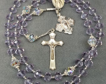 Rosary Lilac Crystal in Sterling Silver HeartFelt Rosaries