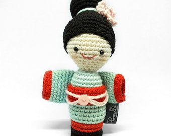 RAYNA the geisha. Stuffed toy. Kids design. Human Japanese Plushie. Amigurumi geisha. Kokeshi doll. Kids decor crochet doll. Ready to ship.