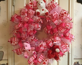 Valentine Bear Wreath