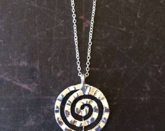 Spiral Necklace - Spiral Jewelry - Spiral Pendant - Circle Necklace - Circle Necklace Silver - Round Necklace - Round Pendant - Necklace