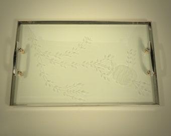 Mid Century Vintage Silver Tray with Engraved Glass