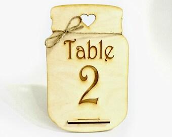 Mason Jar table numbers - rustic wedding decor wood table numbers