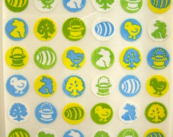 Small Easter Stickers, Self Adhesive, Green Blue Yellow, Mixed Media, Altered Art, Collage, Decoupage, Scrapbooking