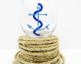 Nautical Anchor Stemless Wine Glass Set of 2 | FREE SHIPPING |