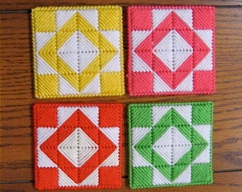 Coasters Red And White Quilt Blocks Set Of 4 Double