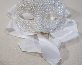 AB White Pearled Mask w/Satin Ribbon