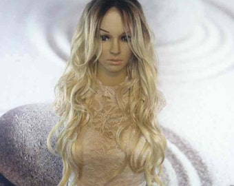 Ombre Dark Roots To Blond Lace Front Wig Synthetic heat resistant curly.
